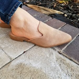 Shoes - Tan Suede Pointy Toe Slip On Mule Loafers-k